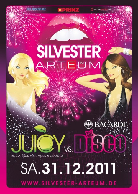 Flyer SILVESTER im ARTEUM pres. by JUICY & Bacardi Disco