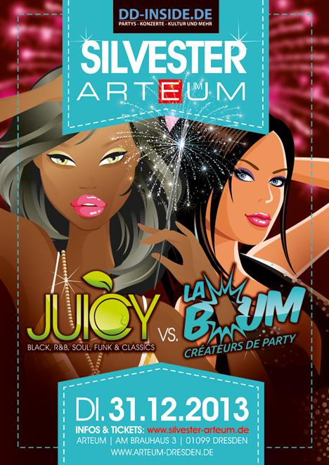 Flyer SILVESTER im ARTEUM: JUICY meets LA BOUM