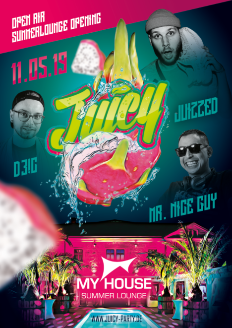 """Flyer JUICY PARTY """"Summer Opening"""""""