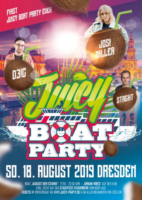 Flyer JUICY BOAT PARTY • MS August der Starke