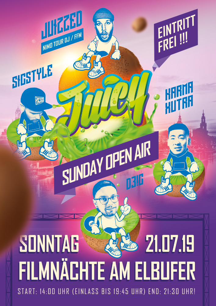 Flyer JUICY SUNDAY • Filmnächte am Elbufer