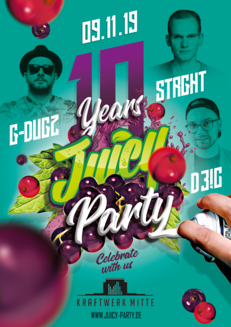 Flyer JUICY PARTY • Kraftwerk Mitte
