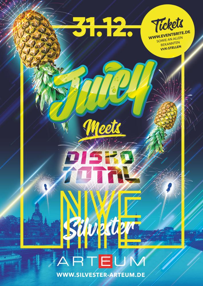 Flyer JUICY PARTY x DISKO TOTAL • Arteum